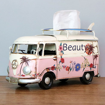 Flower Retro Iron Bus Tissue Box Model Figurines Car Craft Home Decoration Accessories for Living Room Ornaments for Home Decor 19