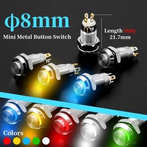 1Pcs 8mm with LED Indicator Self-reset Momentary Self-locking Latching Metal Push Button Switch 4pins High Head 3v5v12v24v220v