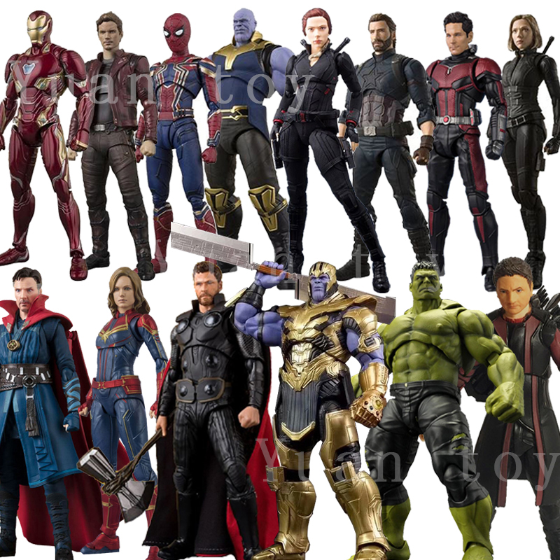 shf-avengers-4-endgame-infinity-war-thanos-iron-man-star-load-font-b-marvel-b-font-captain-america-black-widow-huk-toy-action-figure