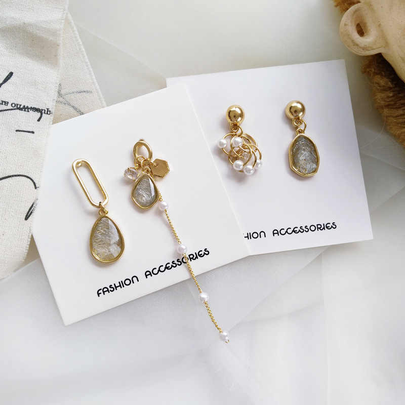 Dangle Earrings long Fashion Asymmetry pearl earring female geometric tassel earrings Popular crystal earrings for women jewelry