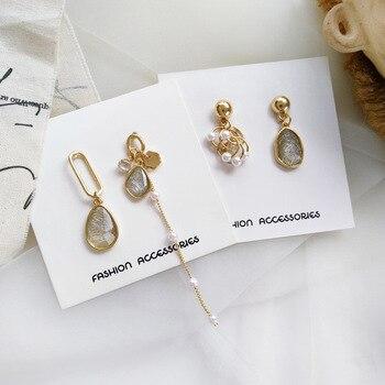 Pendientes largos de moda, pendientes de perlas asimétricos, pendientes geométricos con borlas para mujer