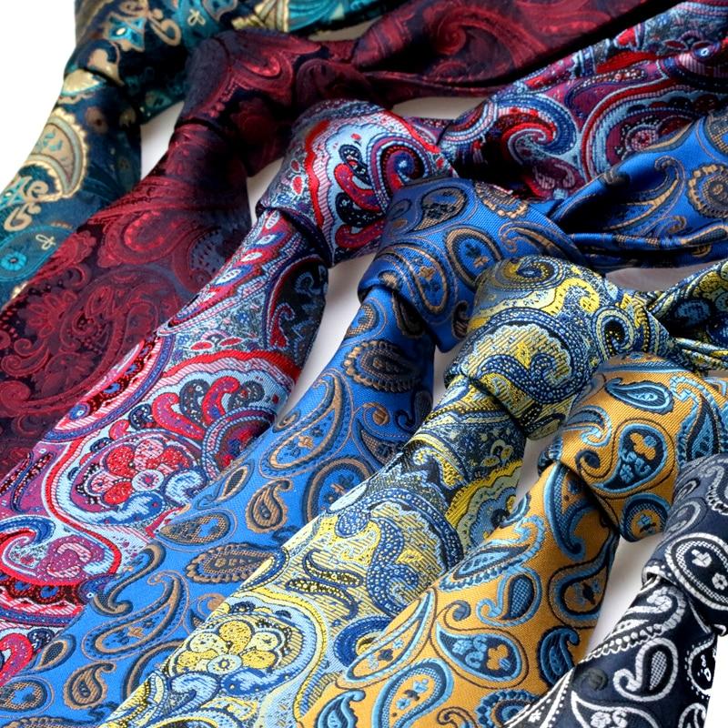 YISHLINE 2020 Fashion Mens Tie Brand Designs 7CM Man Neck Ties Paisley Jacquard Neckwear Bridegroom Wedding Tie Men Accessories