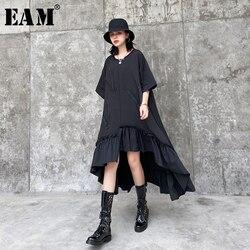 Женское платье EAM, платье большого размера с ассиметричной молнией и оборками, Круглый ворот, короткий рукав, мода на весну-лето 2020 1T575
