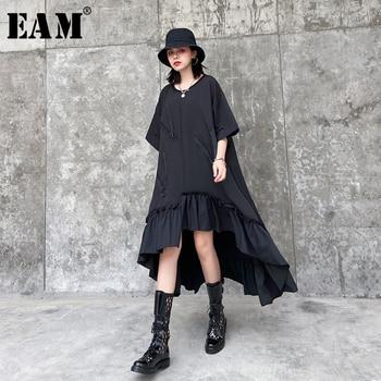 [EAM] Women Asymmetrical Zipper Ruffles Big Size Dress New Round Neck Half  Sleeve Loose Fit Fashion Spring Summer 2020 1T575