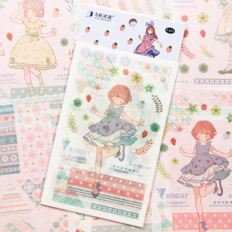 6 Sheets Kawaii Lolita Girls Washi Paper Decorative Sticker Adhesive Stick Label