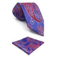 F1 Paisley Mens Necktie Xlong Ties for Men Pocket Square Set Wedding Blue Red