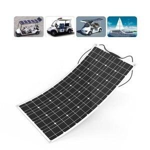 Image 5 - 中国柔軟なソーラーパネル 100 ワット 18v 太陽光パネルソーラーキャンプライト 12v バッテリー充電器、モノラル太陽電池オスとメスのコネクタ