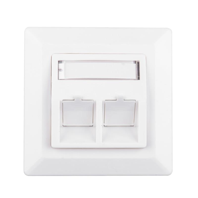 White 2-Port Keystone Jack RJ45 RJ11 RJ12 Wall Plate Faceplate