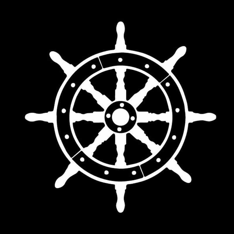 Volkrays Personaliryสติกเกอร์รถเรือทะเลเรือที่สวยงามอุปกรณ์ตกแต่งไวนิลรูปลอกสีดำ/เงิน,14 ซม.* 14 ซม.