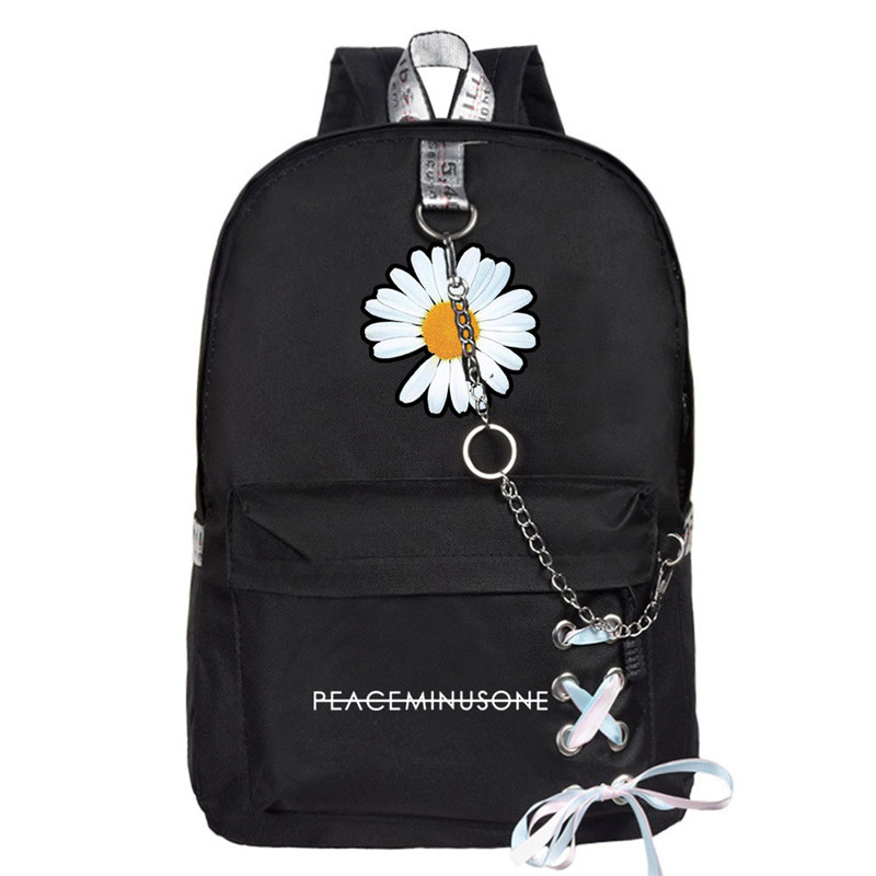 G-Dragon Daisy PMO Backpack Chain Lanyard School Back Embroidery PEACEMINUSONE