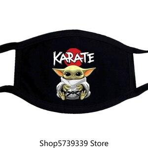 Каратэ детская маска Йоды красочный узор Моющиеся Многоразовые маски для унисекс черный