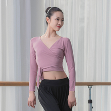 yoga top crop women sport long sleeve gym tie up T shirt sports wear