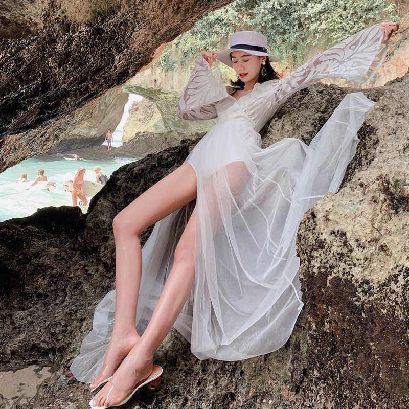 RoseDiary เซ็กซี่ตาข่าย SHEER ความยาวสีขาวฤดูร้อน VINTAGE V คอลูกไม้ที่น่าตื่นตาตื่นใจยาวชุด Celebrity Vestidos Longue