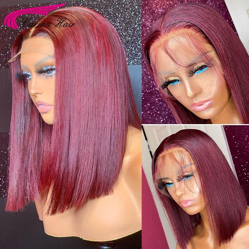 Короткий парик из человеческих волос Carina 13X4, прямые волосы спереди, предварительно отобранные бразильские волосы с красным Бобом