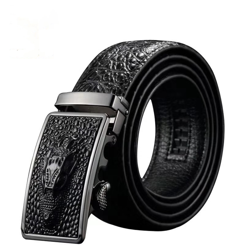 2019 New Arrival Luxury Cow Leather Belts For Men Good Alligator Pattern Automatic Buckle Mens Belt  Original