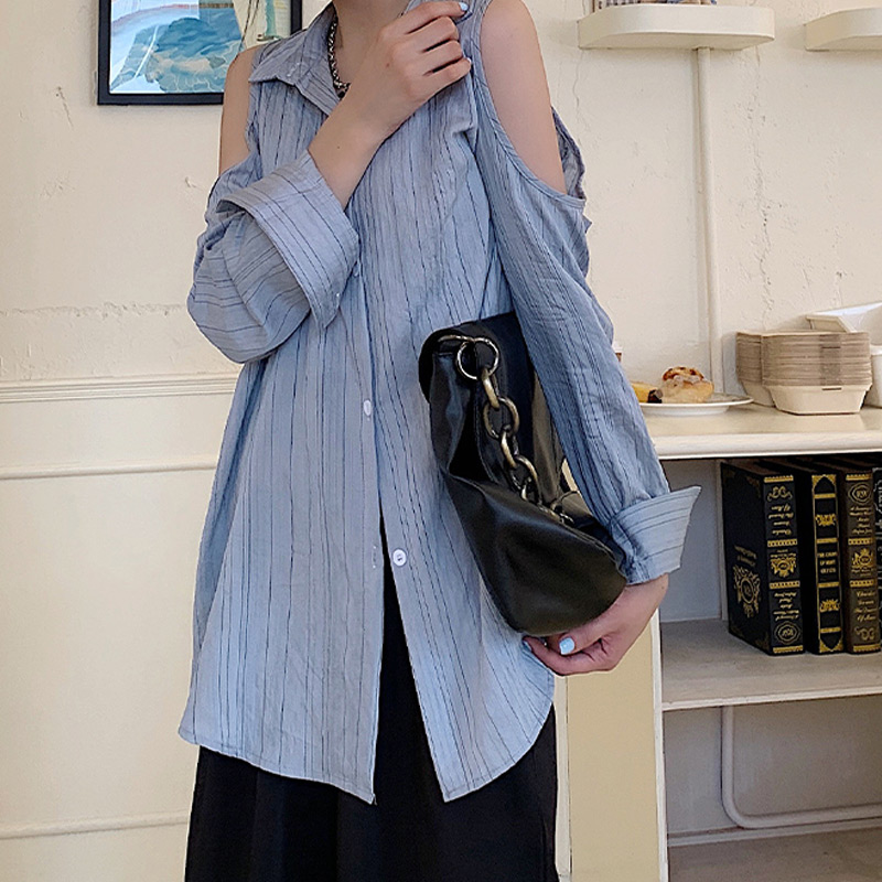 Plus Size 2020 Autumn Fashion Off Shoulder Blue Striped Shirt Female Long Sleeve Buttons Cardigan Long Blouse Shirt Women Tops