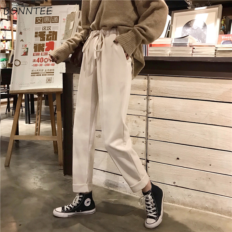 Pants Women Thicker Warm Loose Korean New All-match Womens Leisure Straight High Quality Elastic Waist Ladies Elegant Drawstring
