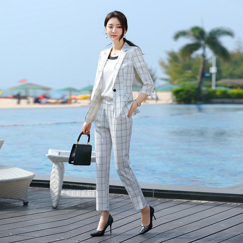 2020 Summer Office Formal Pants Suit Women Half Sleeve Blazer and Pants Set for Women Black White Plaid 2 Piece Pantsuit Elegant