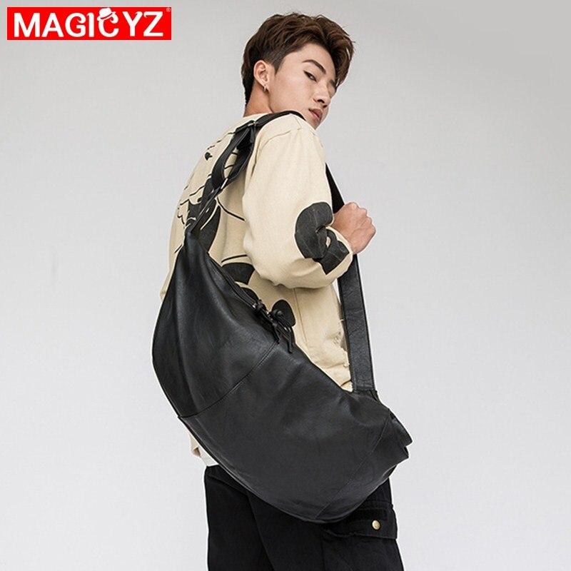 High Capacity Crossbody Bag Men's Hobos Bag Dumplings Shapes Personality Male Casual Bag PU Leather Boys Cool Shoulder Bag