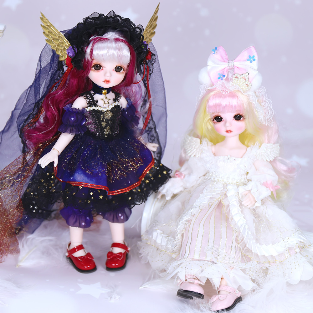 Dream Fairy 1/6 BJD Doll Little Angel Series 28cm Ball Joint Dolls with Scalp Eyes Clothes Cute Makeup DIY Doll Gift for Girls