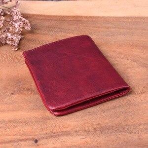 Image 2 - Aetoo novo artesanal original primeira camada de couro curto parágrafo pequena carteira de couro dos homens pequena carteira retro antigo vintage