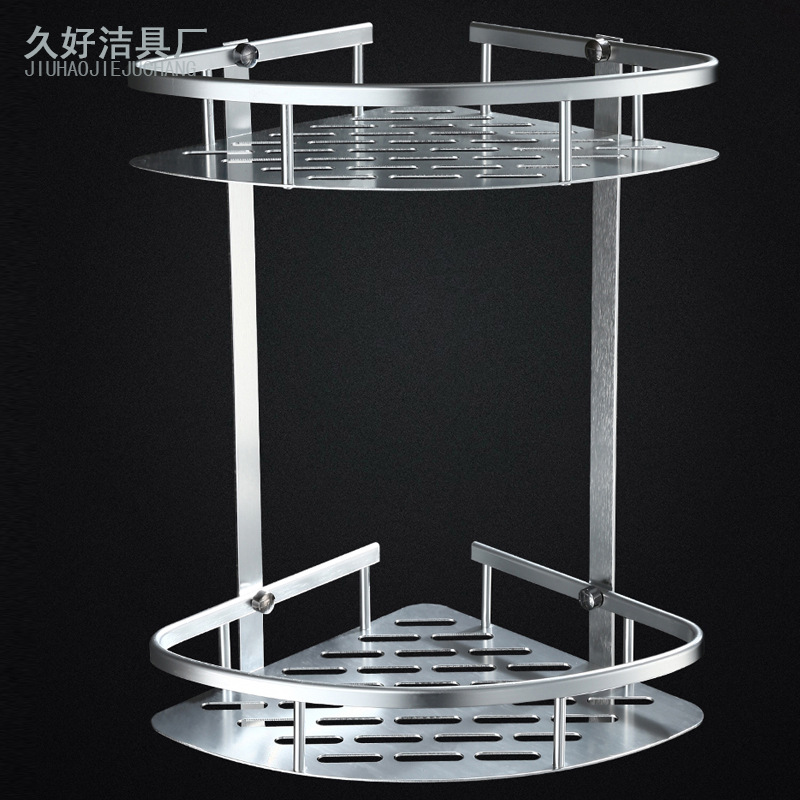 Bathroom Triangular Storage Shelf Alumimum Material Oxide Light Double Layer Thick Heightening Punched Nailless Dual-Use