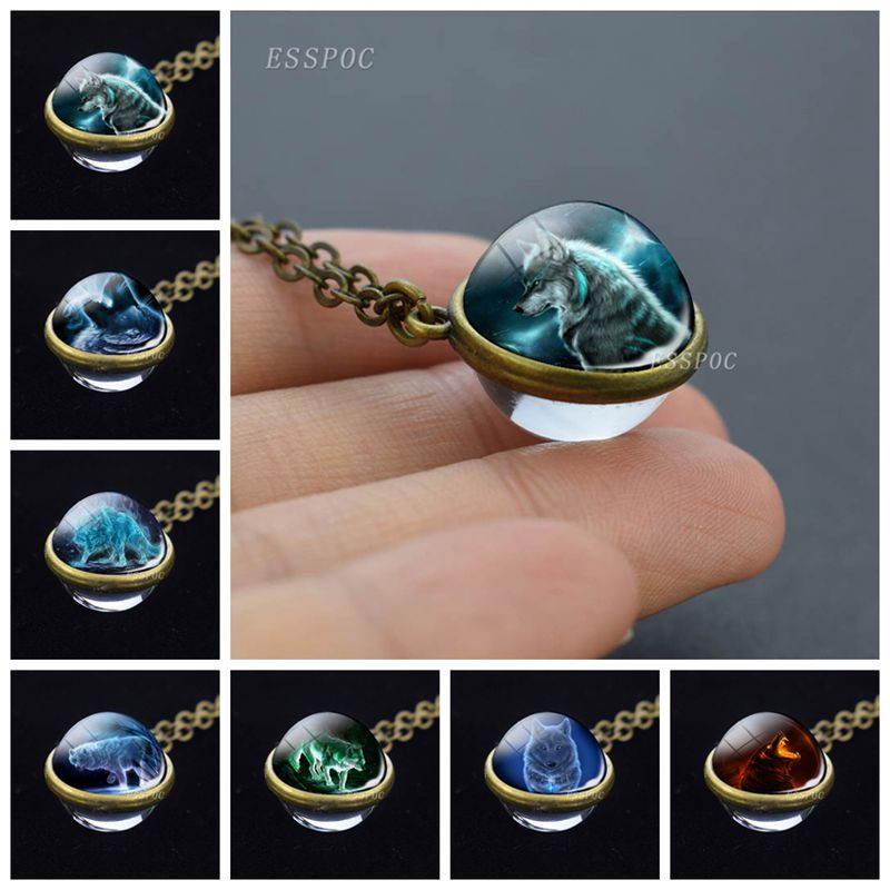 Wolf Sphere Ball Glass Necklace Wolf Double Side Glass Ball Pendant Necklace Valentines Day Gifts for Women Fashion Accessories