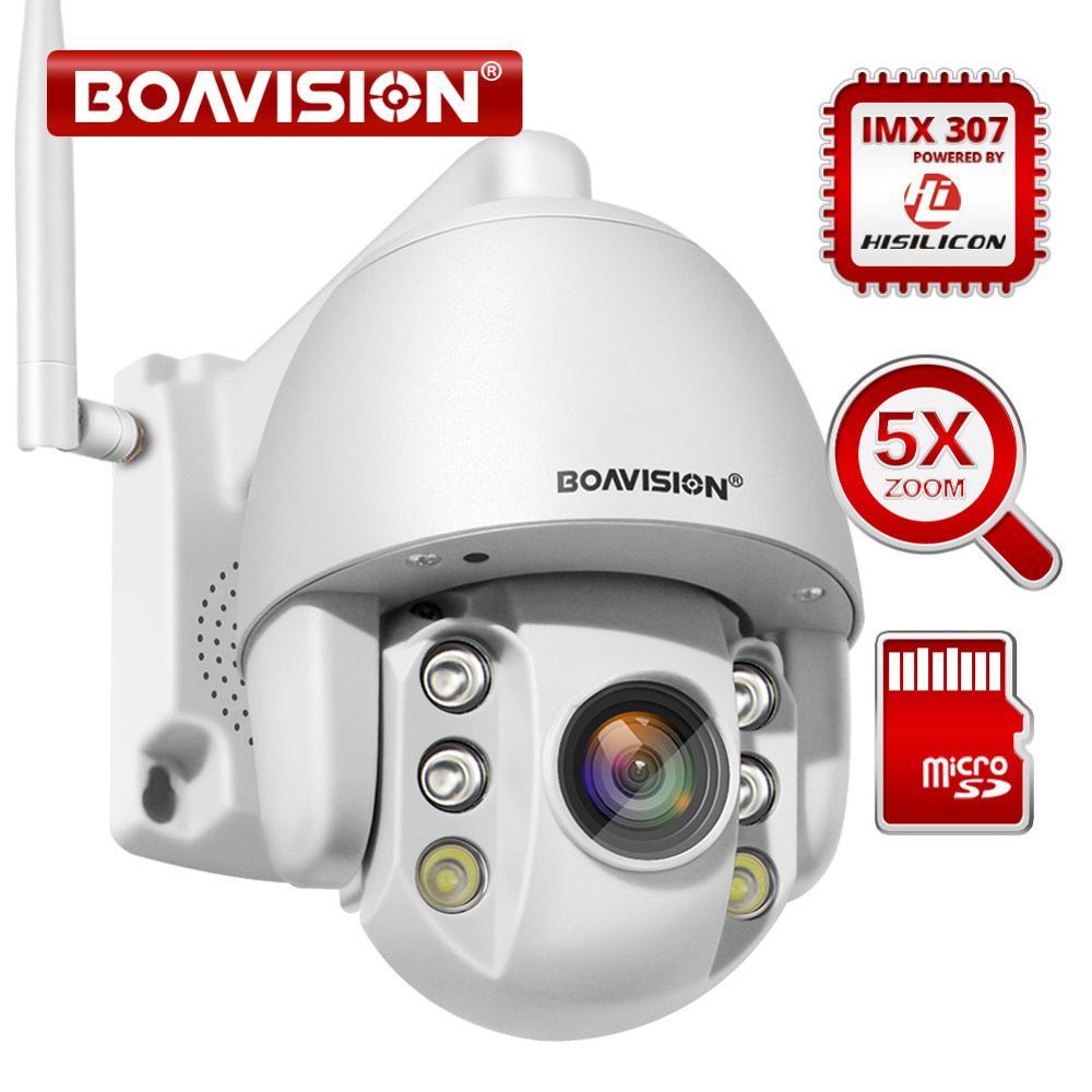 Super Mini 2.5 pouces PTZ vitesse dôme WIFI IP caméra 1080P extérieur 5X Zoom/4mm objectif fixe caméra sans fil IR 60m deux voies Audio