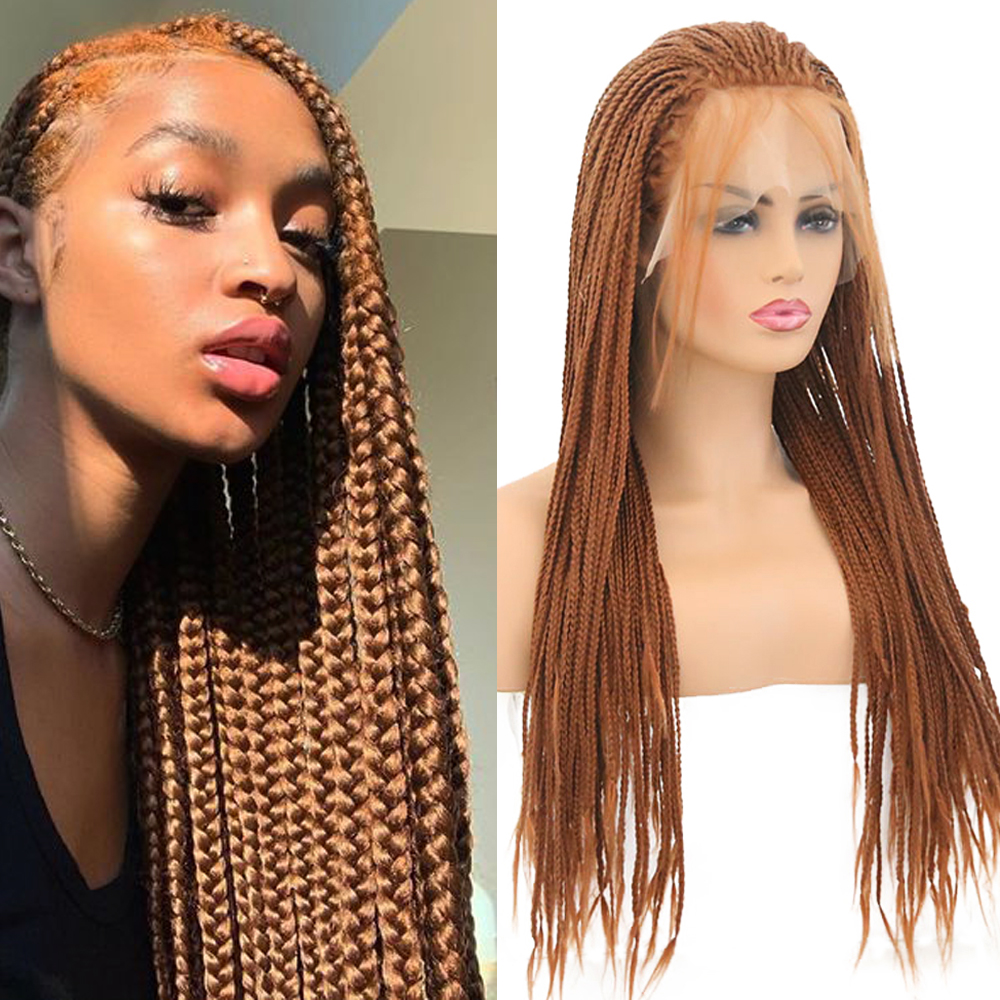 FANXITON Braided Box Braids Wig Heat Resistant Fiber 24 Inch With Baby Hair Braided Synthetic Lace Front Wigs For Women