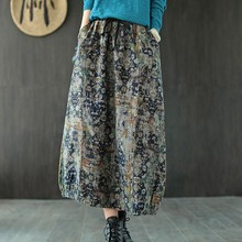 Half-Skirt Elastic-Waist Retro-Print Winter Fashion Women Pockets Johnature Loose Leisure