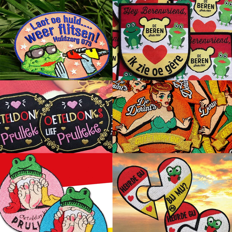 Oeteldonk Emblem Frog Carnival for Netherland Iron on Letter Patches for Clothing Stripes Badges Embroidery Patches for Clothing