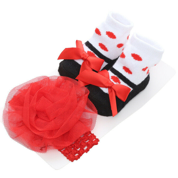Cute Infant Baby Girl Socks With Headband Newborn Kids One Pair Bowknow Socks