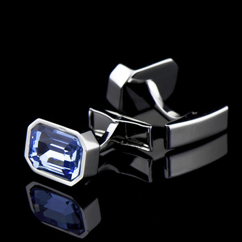 Men's French Classic High Grade Simple Blue Crystal Cuff Links 2