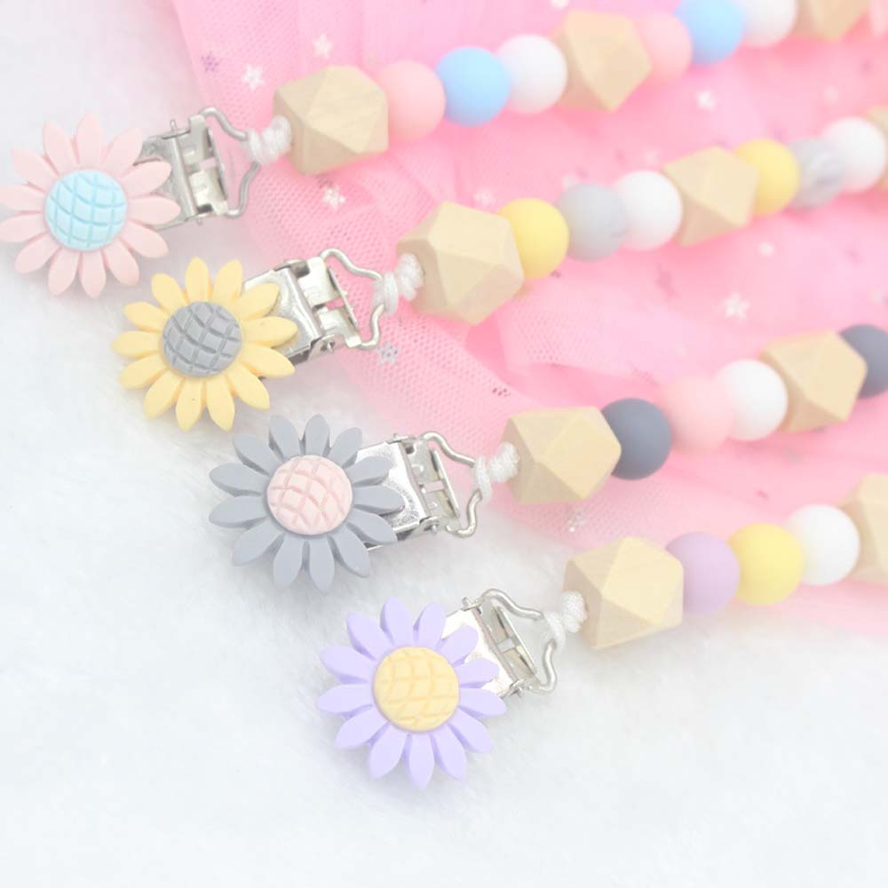Flower Design Baby Pacifier Clips Silicone Crown Pacifier Chain Holder Baby Shower Gift Soother Pacifier Chain
