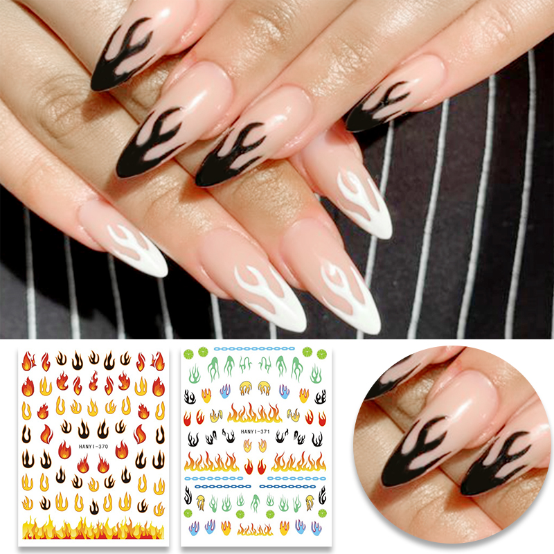 1 Sheet Nail Stickers Flowers Mixed Patterns Nail Transfer Sticker Flames Nail Decals Nail Art DIY Design Decoration Sticker