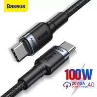 Baseus – Câble USB à charge rapide, chargeur pour Xiaomi mi 10 Pro Samsung S20 MacBook Pro, USB-C type C, 100W,
