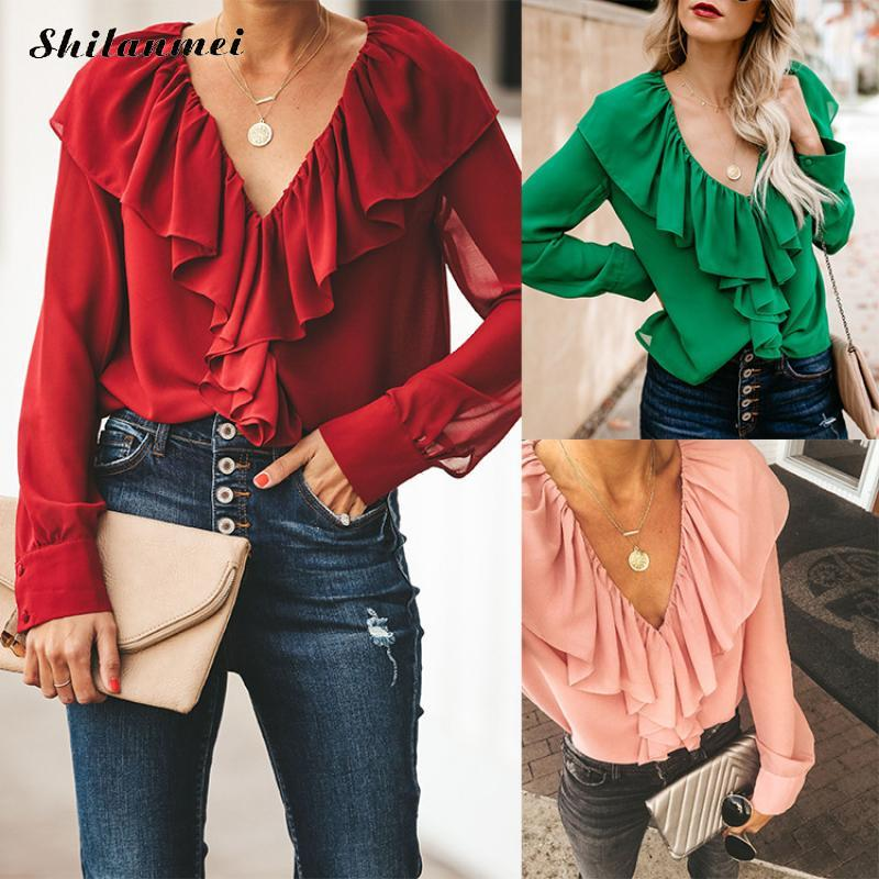 Fashion Ruffles Chiffon <font><b>Blouses</b></font> Shirts Women 2019 Autumn Long Sleeve <font><b>Deep</b></font> <font><b>V</b></font> <font><b>Sexy</b></font> <font><b>Blouses</b></font> Ladies Office Work Ruffled Shirts image