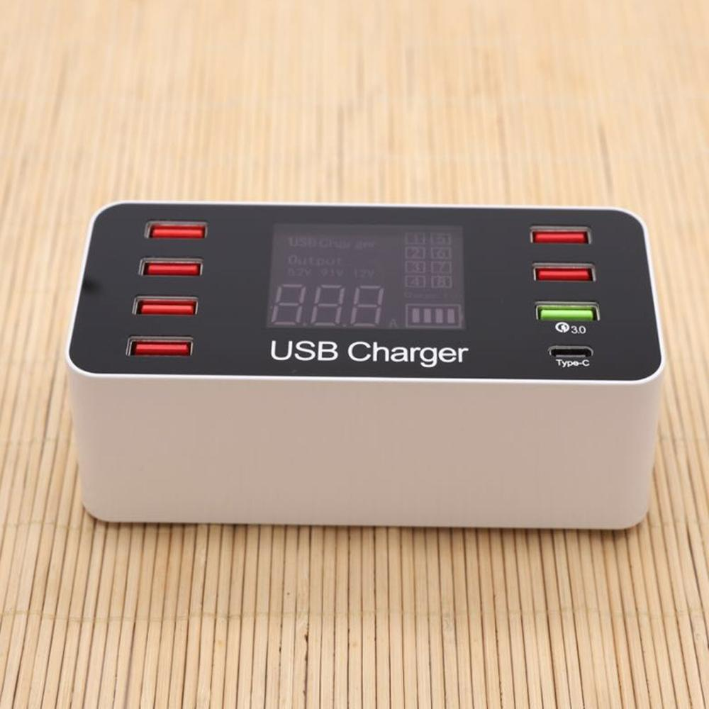 A9 Plus Multi-function AC 100V~240V 8 Ports USB Digital Display LCD Detachable Charging Station Smart ChargerSupport QC3.0