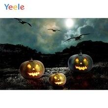 Yeele Photophone Halloween Backdrop Pumpkin Lantern Bat Rip Hillside Moon Night Vinyl Photography Background For Photo Studio