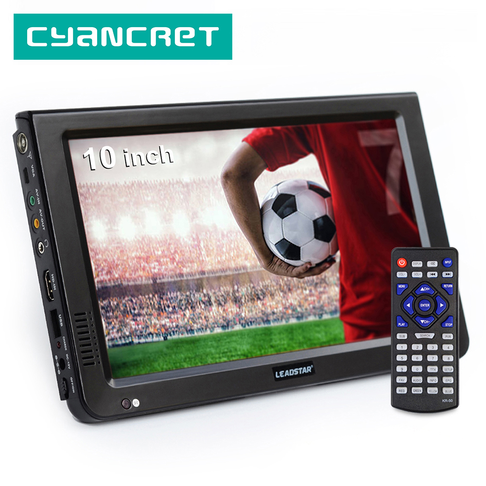 LEADSTAR 10-дюймовый HD портативный TV DVB-T2 ATSC ISDB-T tdt цифровой и аналоговый мини маленький автомобильный Телевизор с поддержкой USB SD MP4 H.265 AC3