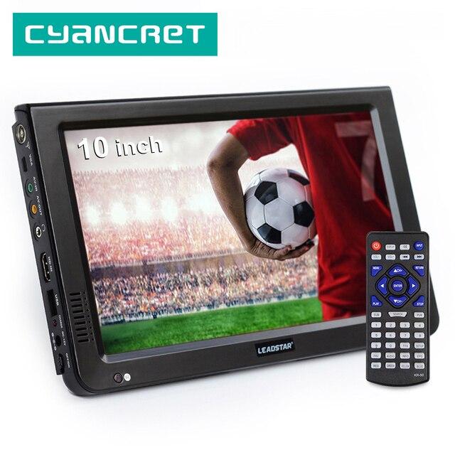 LEADSTAR DVB T2 de TV portátil de 10 pulgadas, HD, ATSC, ISDB T, tdt, Digital y analógico, para coche pequeño, compatible con USB, SD, MP4, H.265, AC3