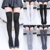Mujer calcetines Medias calientes muslo alto sobre la rodilla calcetines largos algodón medias calcetín largo Sexy medias calcetín de mujer