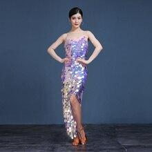 Vestido largo de gitana para mujer, traje de baile de salón con lentejuelas brillantes, falda personalizada, ropa Oriental