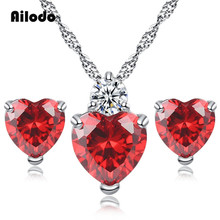 Ailodo Romantic Love Heart Necklace Earrings Jewelry Set For Women Red White Purple CZ Party Wedding Girl Gift LD386