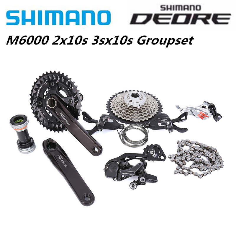 <font><b>SHIMANO</b></font> <font><b>Deore</b></font> M6000 <font><b>2x10</b></font> 170mm 38-28T Speed 3x10 30 Speed 170mm 40-30-22T bike bicycle MTB Groupset 7 Pcs Update from M610 image
