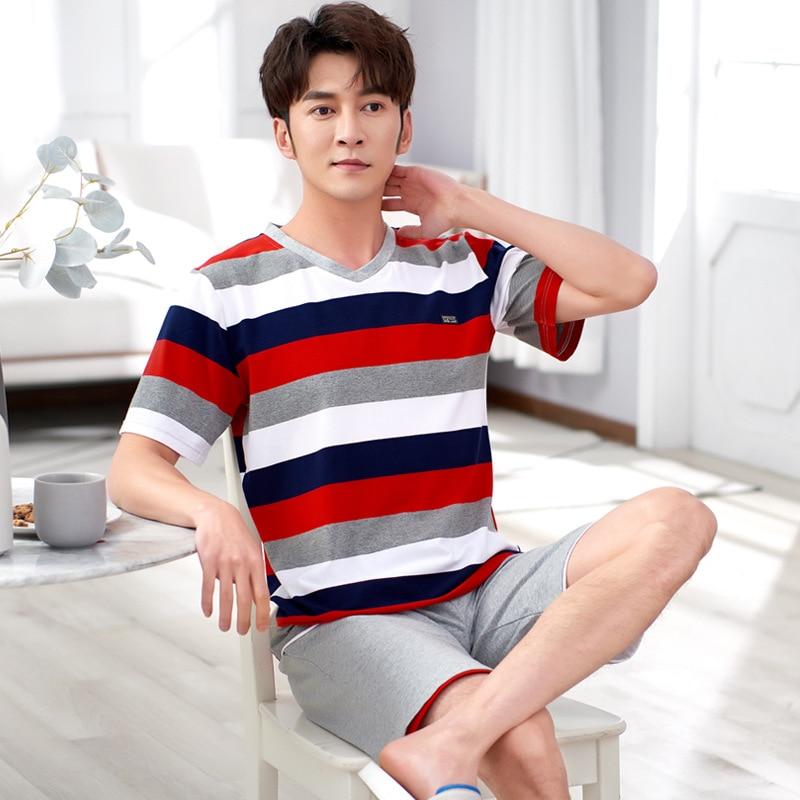 Cotton Shorts Pajamas Set Men's Summer Short-sleeved T-shirt With Shorts Casual Loose Style Men's Home Pyjamas Men Clothes 2020