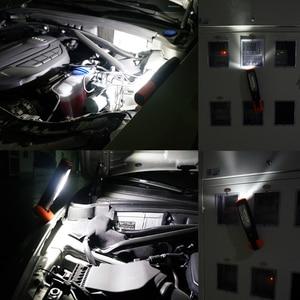 Image 4 - Lampe dinspection de LED portative de lumière de travail de LED sans fil Rechargeable double crochets lumière de torche LED avec la prise de lue pliable magnétique