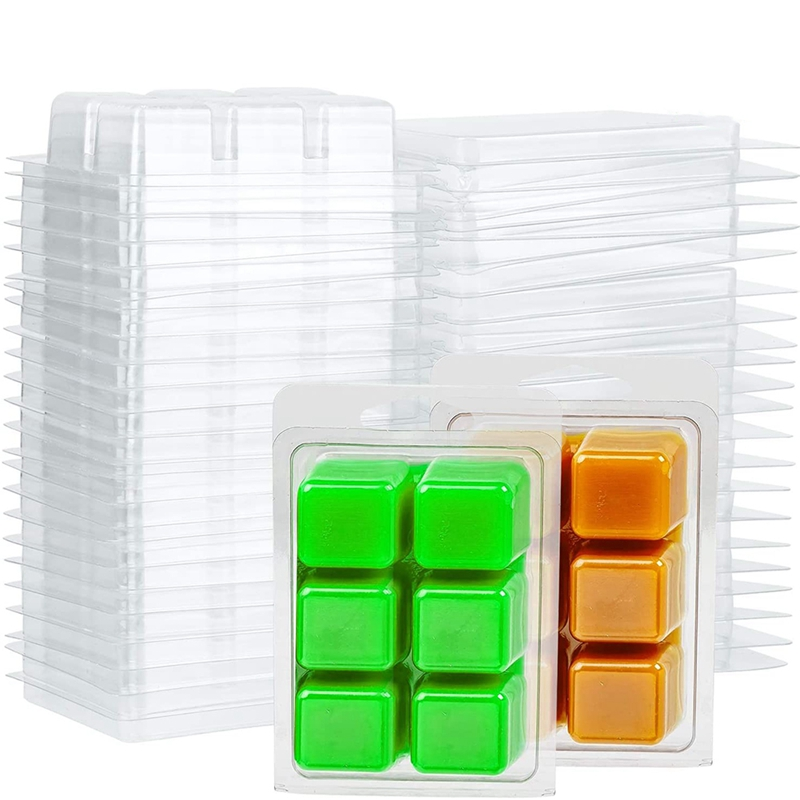 100 Packs Wax Melt Clamshells Molds Square, 6 Cavity Clear Plastic Cube Tray for Candle-Making & Soap