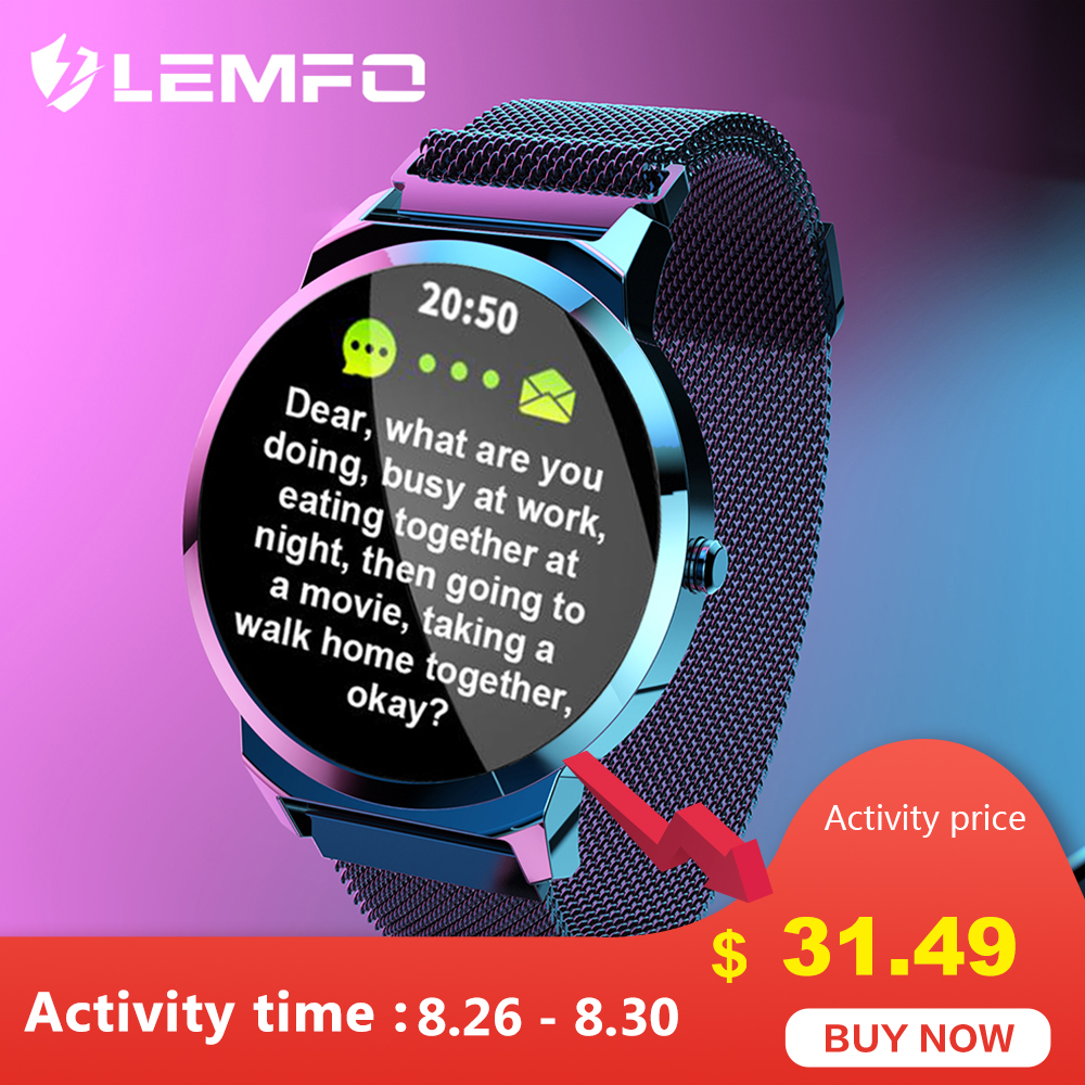 LEMFO Smart Watch ELF1 Full Touch Round Screen Heart Rate Blood Pressure Monitor Waterproof Smart Watches Men Women for Android xanes a6s