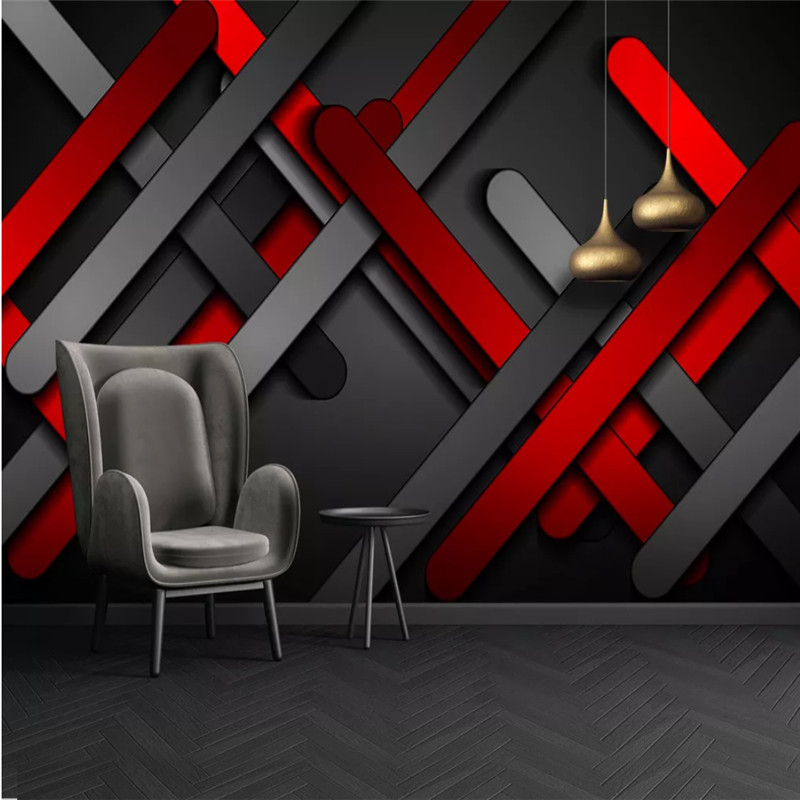 Modern Abstract Geometric Wall Paper 3D Red Golden Three-dimensional Metal Plates Creative Photo Wallpapers For Bedroom Wall 3D